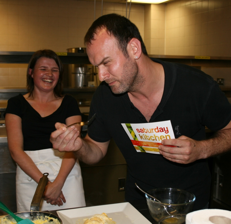 Glynn's funny face at trying my omelette!